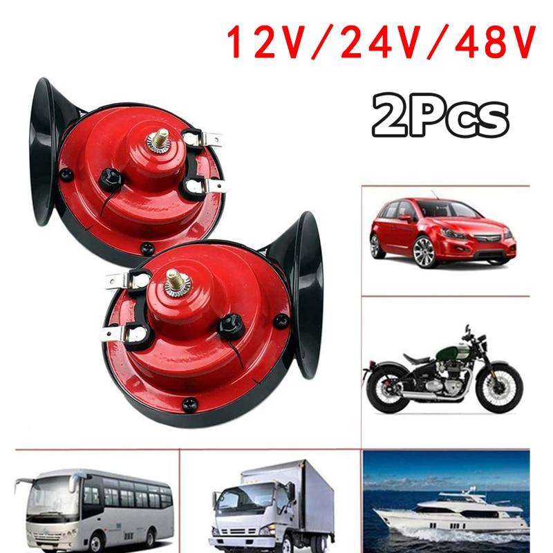 2 шт. 300 дБ звуковой сигнал для грузовиков самый громкий водонепроницаемый громкий Электрический звуковой сигнал с улиткой 12/24/48 в двойной зв...