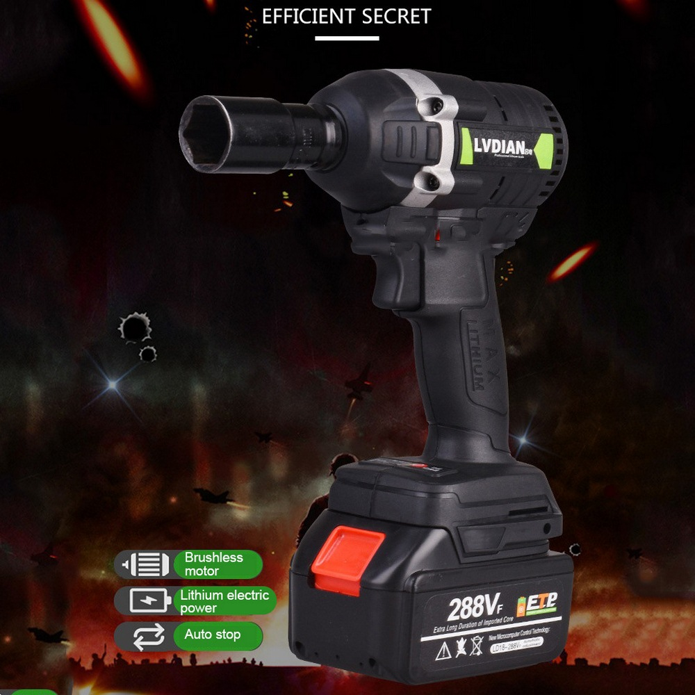 Brushless Cordless Electric Wrench Impact <font><b>Driver</b></font> 630N.m 288VF 19800mAh Lithium <font><b>Battery</b></font> Hand <font><b>Drill</b></font> Installation Power Tools image