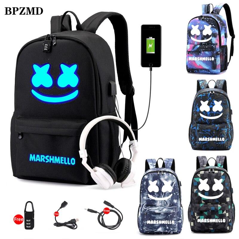 Canvas Luminous Waterproof DJ Marshmello Anti-theft Laptop Backpack for Teenager Boys Girls Student School Backpack Men Womenbag