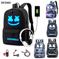 Canvas Luminous Waterproof DJ Marshmello Anti-theft Laptop Backpack for Teenager Boys Girls Student School Backpack Men Womenbag