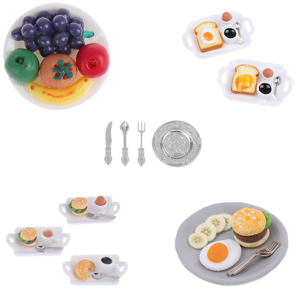 1:12 Miniature Food Hamburger Fresh Fruit Platter Grape Pear Orange Peach White Dish Dollhouse Kitchen Accessories