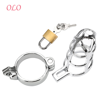 OLO Penis Cock Ring Sleeve Lock Chastity Belt Sex Toys for Men Metal Cock Cage Male Chastity Device Lockable 40/45/50mm sodandy small chastity device stainless steel cock cage metal male chastity belt penis ring bondage sex toys dragon totem lock