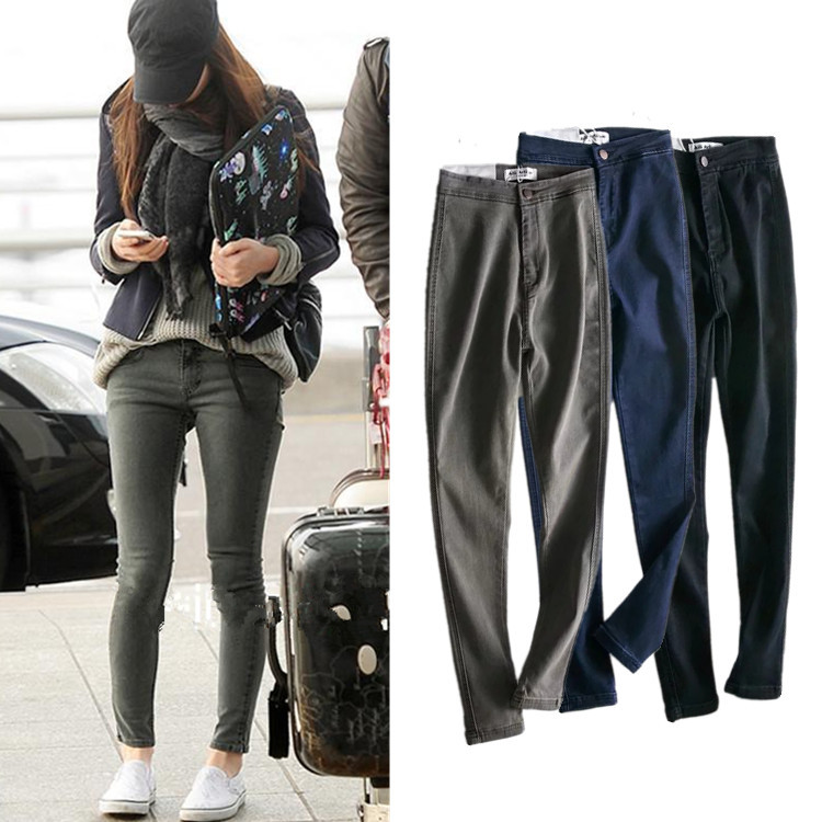 Greyish Black Jeans Women's 2019 Autumn Europe And America High-waisted Slim Fit Skinny Pants Leggings WOMEN'S Trousers