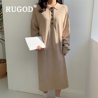 RUGOD Chic Simplee Retro Korean Knitted Midi Dress Polo Collar Solid Full Sleeves Top For Women Knitwear Casual Ladies Dresses