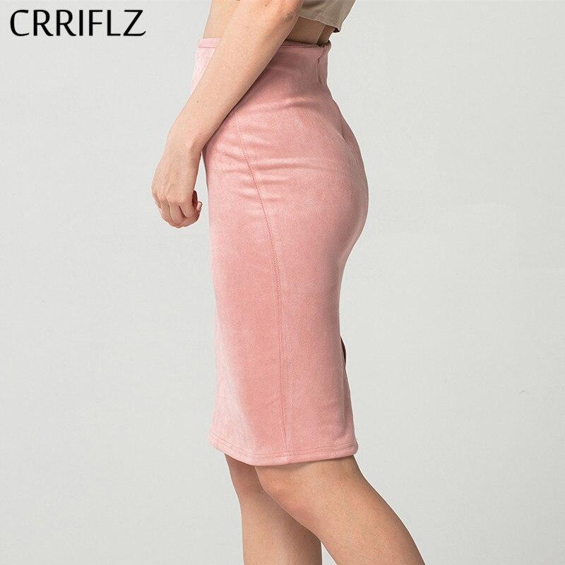 CRRIFLZ Autumn Winter Women Skirts Suede Solid Pencil Skirt Female High Waist Bodycon Vintage Split Thick Stretchy Skirts