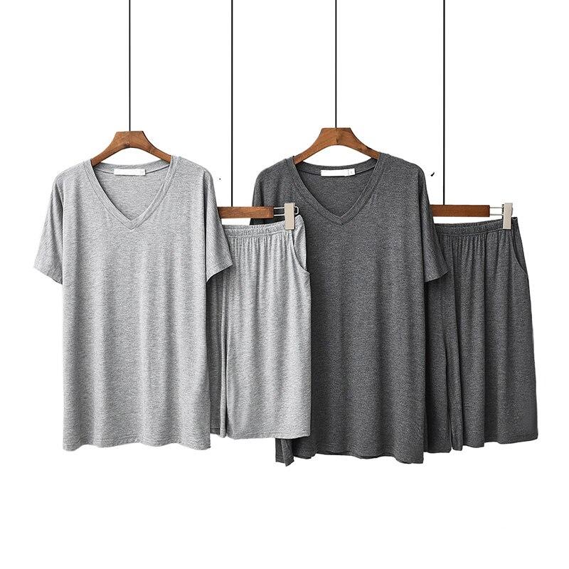 Men's Pajamas Set Solid Color Sleepewar V-Neck Large Size Soft Loose Sleepwear Short Sleeve+Shorts Summer Homewear Cool Black