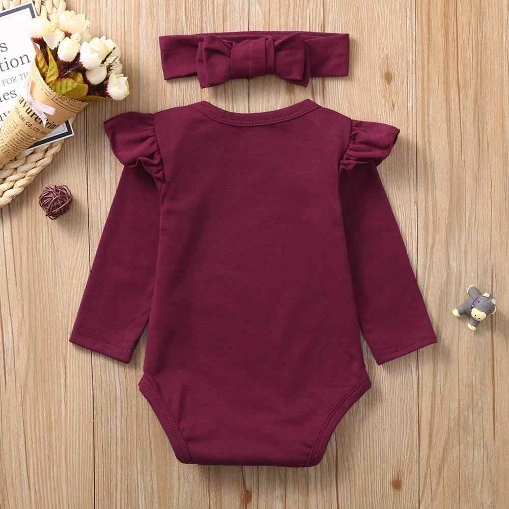 baby romper Romper Jumpsuit Solid Fly Sleeve Romper Hairband Newborn Infant Baby Girls Clothes  Outfits roupa bebe #25