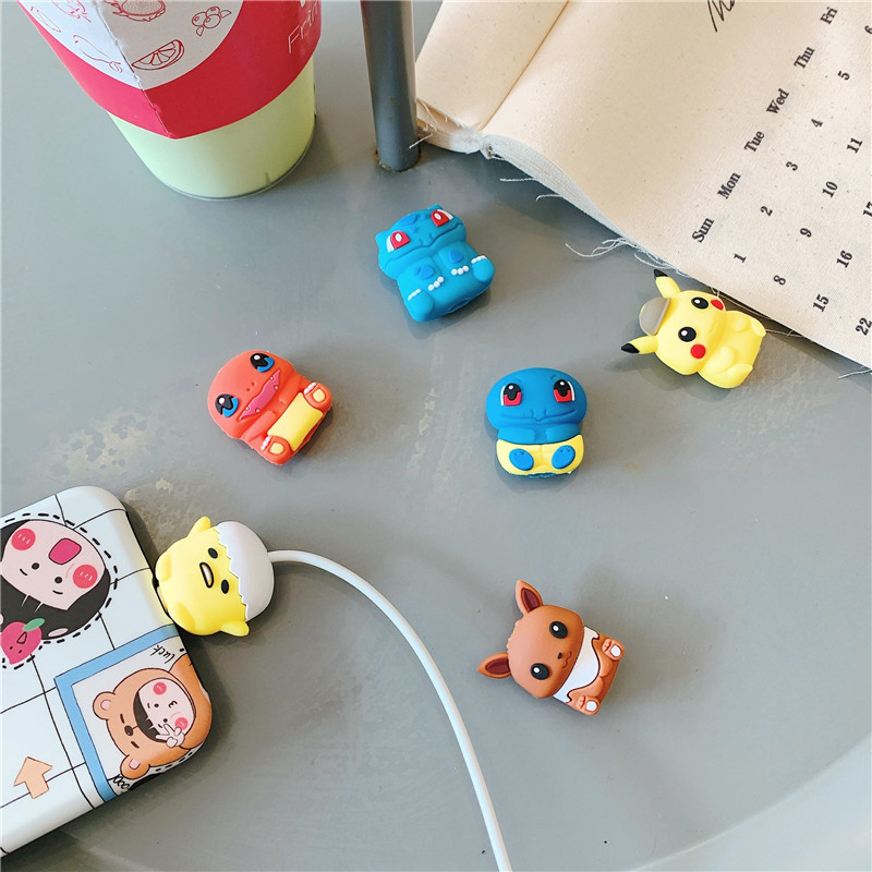 Pokemon Pikachu data cable protective sleeve cartoon silicone mobile phone cable holder anti-breaking winding birthday gifts 2