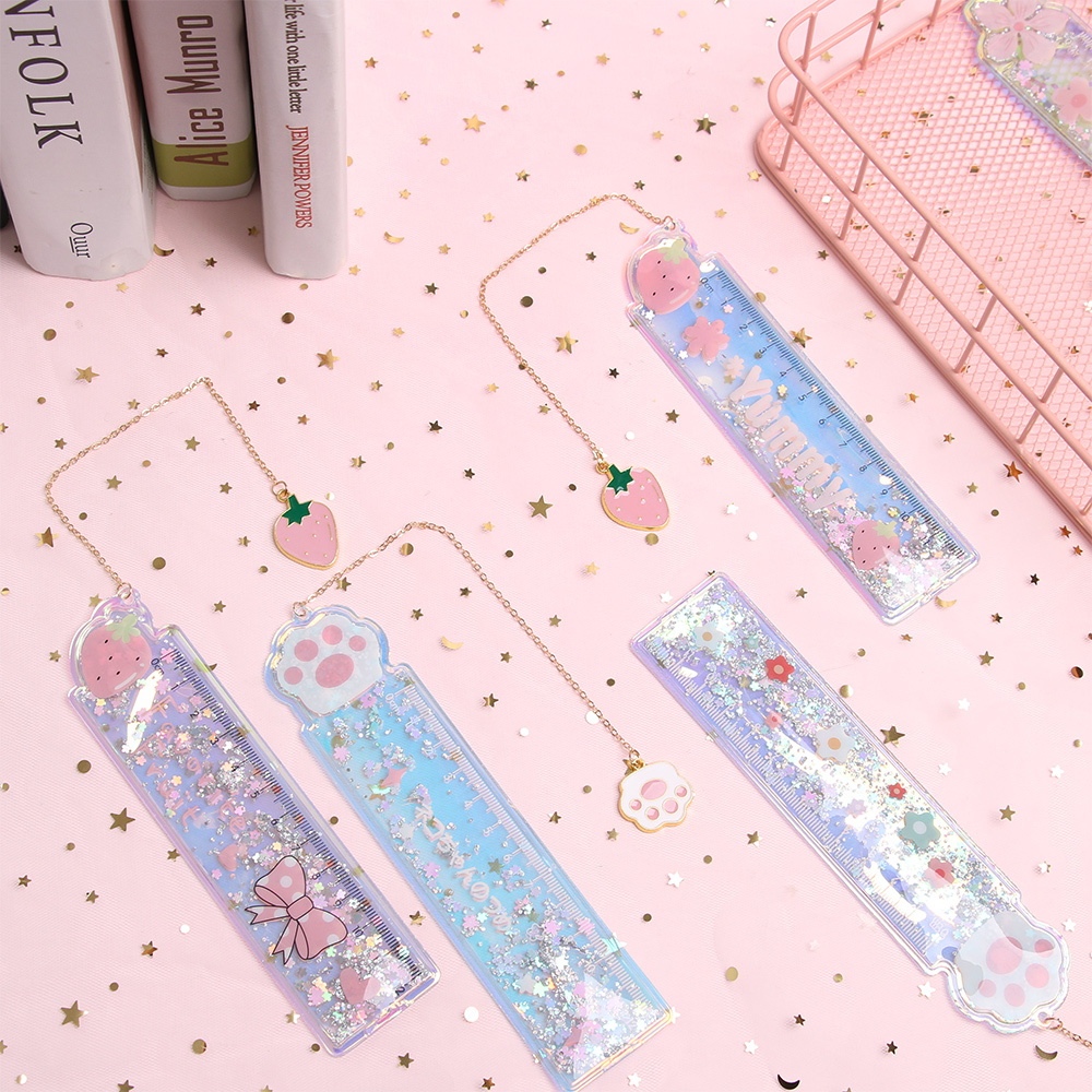 1PC Cartoon Oil Sand Ruler PVC Drawing Ruler Cute Girl Stationery Scale Student Pendant Bookmark Quicksand Creative Ruler