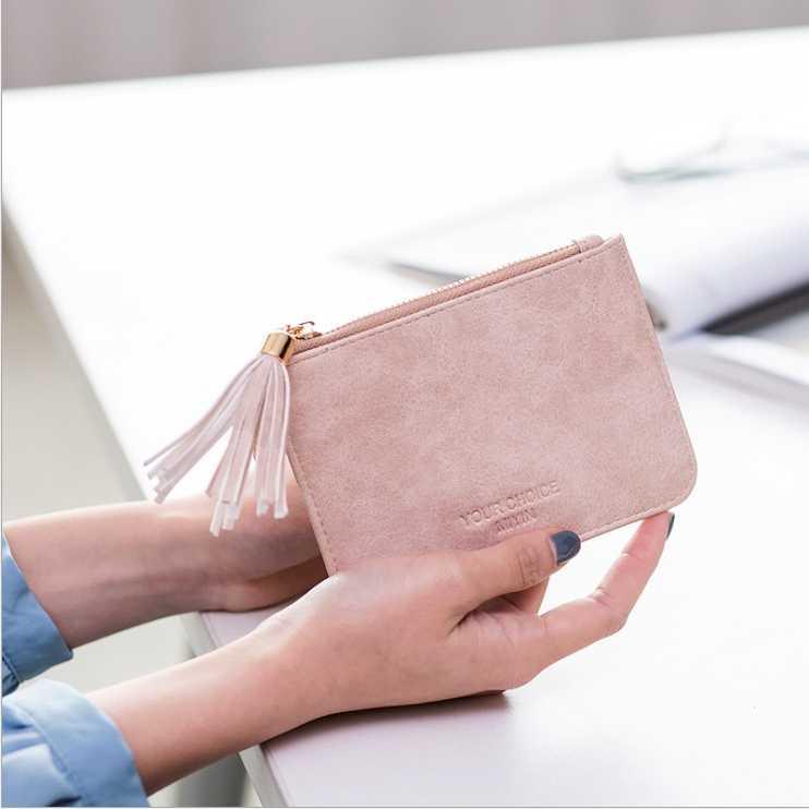 Señoras de cuero de la moda cartera monedero con cremallera cartera Mini niño cartera llavero