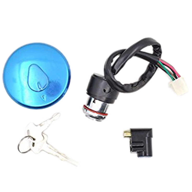 Motorcycle Ignition Switch Lock+Fuel Gas Tank Cap Cover 2 Keys Lock Set For Haojue Suzuki Gn125 Gn 125 125Cc Spare Parts