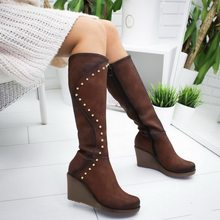 vertvie Women Boots Long Boots Winter Knee High Boots Rivet Design Botas Mujer Ladies Shoes Botas Mujer Invierno 2019 Fashion(China)