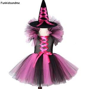 Image 1 - Dziewczyny czarownica Tutu sukienka gorące różowe i czarne dzieci Halloween karnawał Cosplay strój czarownicy dzieci sukienek dla dziewczynek 2 12Y