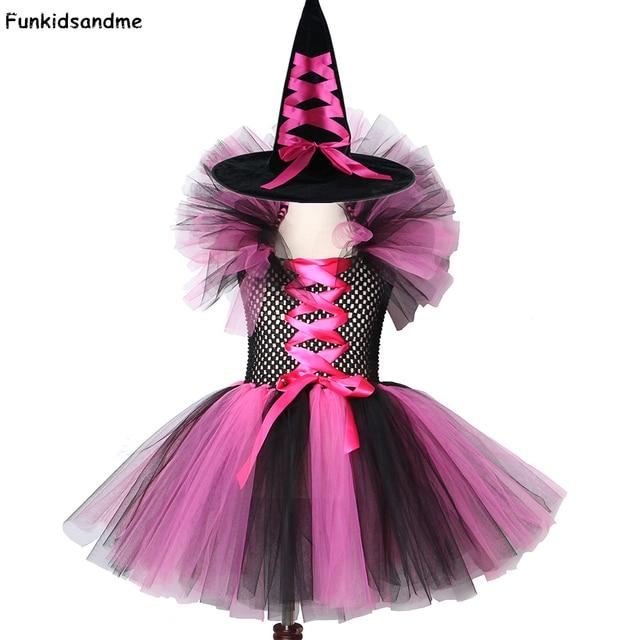 Dziewczyny czarownica Tutu sukienka gorące różowe i czarne dzieci Halloween karnawał Cosplay strój czarownicy dzieci sukienek dla dziewczynek 2 12Y