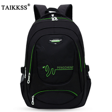 Taikkss Fashion Handsome Mens Solid Color Oxford Cloth Large Capacity Travel Bag Multi Function Leisure Backpack Student Bag