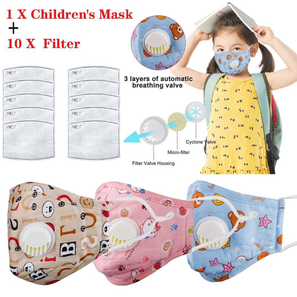 Kids Cotton PM2.5 Anti-smog Anti-Dust Allergies Adjustable And Reusable Masks Activated Carbon Masks Protection With 10 Filters