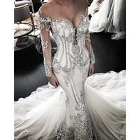 Robe De Mariee Delicate Lace Appliques Mermaid Wedding Dress 2019 Long Sleeve Illusion Neckline Wedding Bridal Dresses