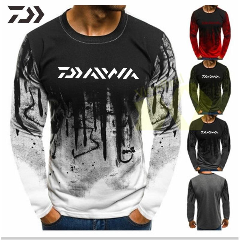 Spring Autumn Daiwa Clothing Fishing Shirts Long Sleeve Fishing Clothes Men Casual Shirt Men O-neck Sport Cotton Outdoor Top