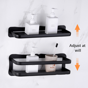 Image 2 - Prateleira do banheiro de alumínio prateleiras do banheiro montagem na parede prateleira do banheiro cozinha rack armazenamento fácil instalar
