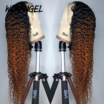 WOWANGEL Colored Ombre Honey Blonde Human Hair Wig 13x6 Natural Curly Lace Front Human Hair Wigs For Women Remy Brazilian Hair