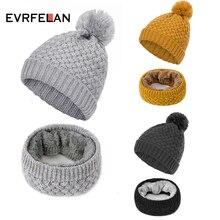Evrfelan, Новое поступление, зимняя теплая женская шапка бини, одноцветная шапка Skullies Beanies, шапка с помпоном, женский плюс бархатный шарф-кольцо