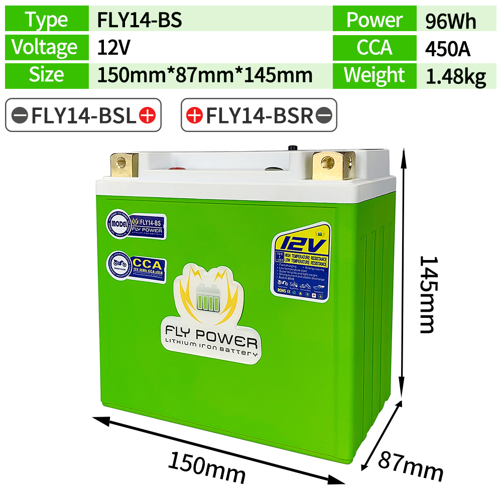 FLY14-BS <font><b>12V</b></font> CCA 450A <font><b>8Ah</b></font> Motorcycle Lithium Engine <font><b>Battery</b></font> Scooter <font><b>Batteries</b></font> BMS <font><b>12V</b></font> 96Wh For ATVs UTVs ETX14-BS YTX14 YTX14-BS image
