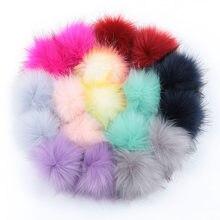 Pompons en vraie fourrure de raton laveur 12cm/8cm, pompons en fourrure naturelle de renard, pour chapeaux, sacs, écharpes, accessoires, vente en gros
