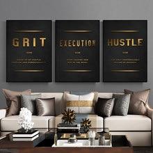 Grind Hustle Uitvoering Inspirational Motievencitaat Canvas Woorden Schilderen Wall Art Foto Posters En Prints Kantoor Decor
