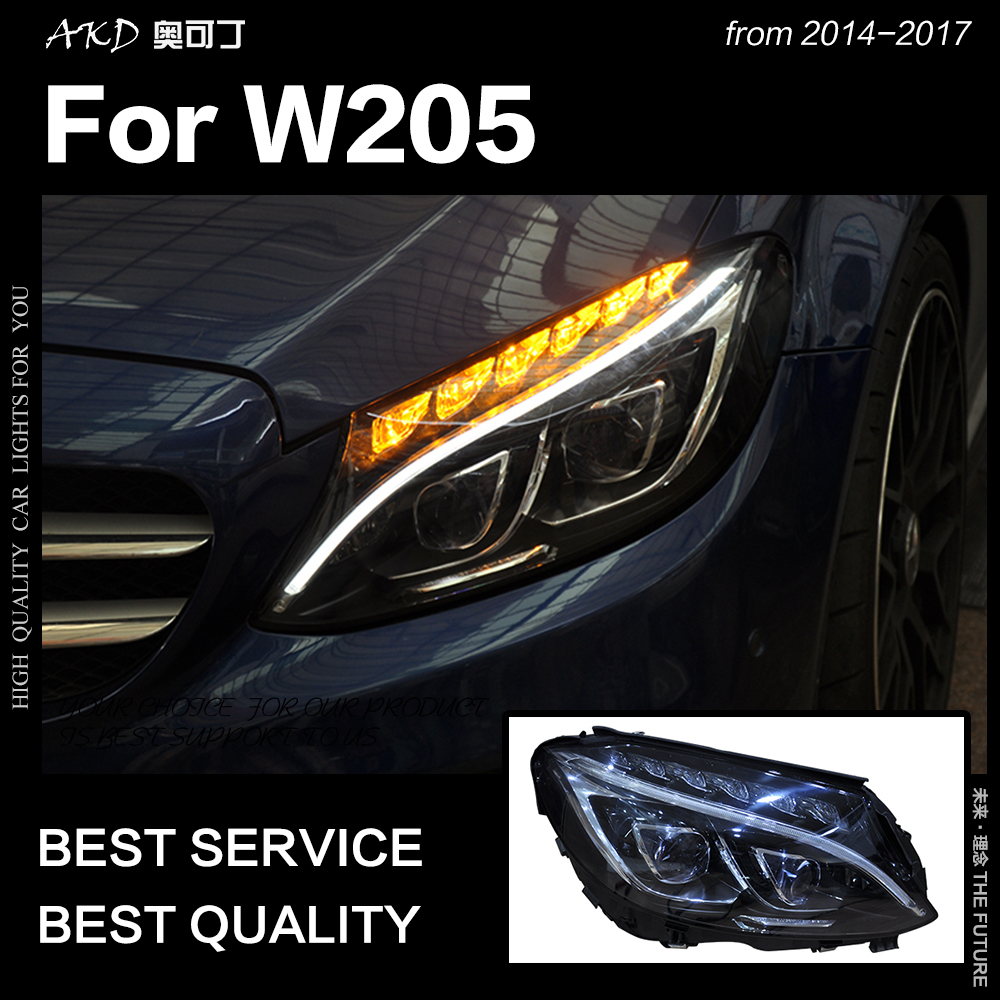 AKD Car Styling Head Lamp For W205 Headlights 2014-2017 C300 C260 New All LED Headlight LED DRL Hid Bi Xenon Auto Accessories
