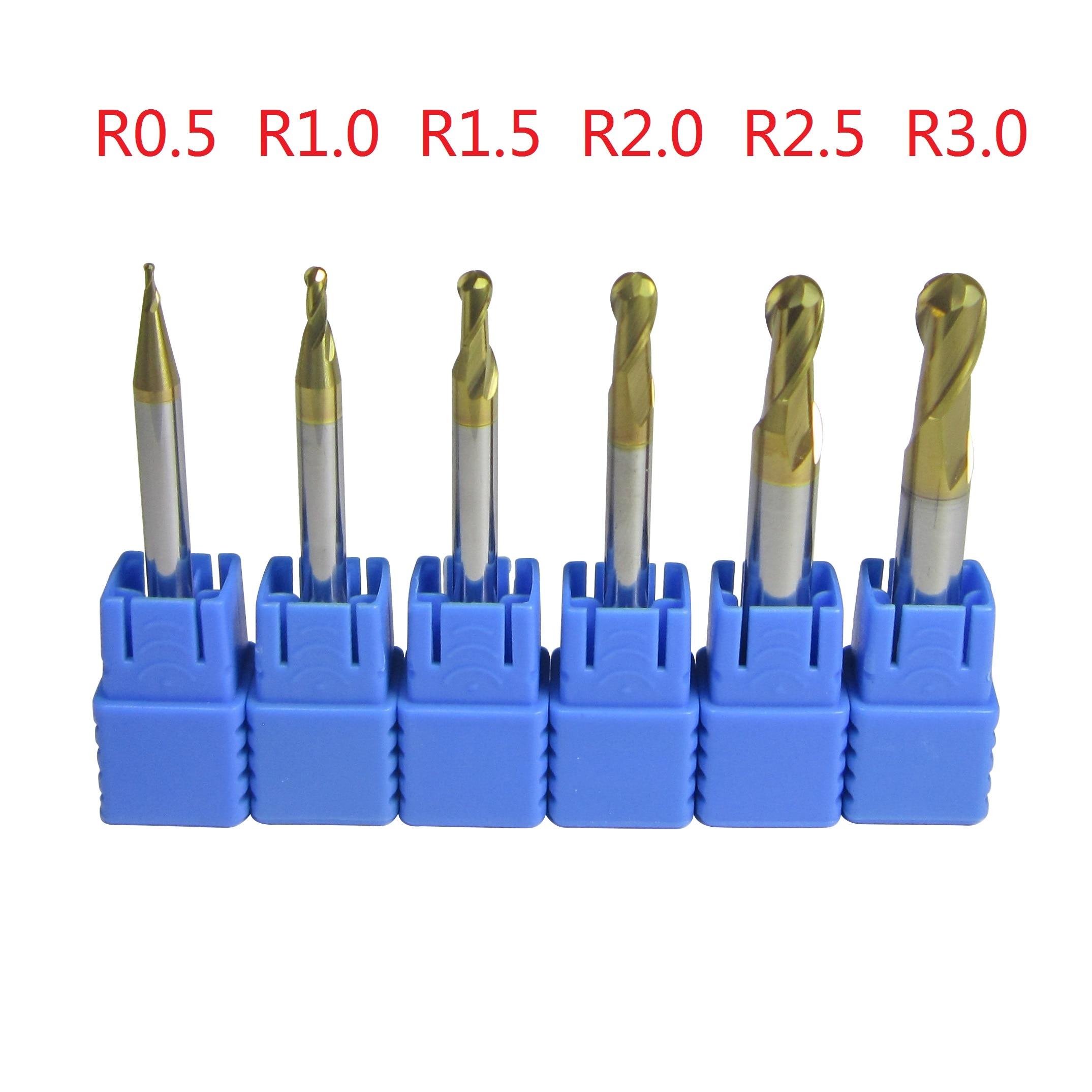 6pcs//set R0.5 R0.75 R1 R1.5 R2 R3 Real HRC50 2 Flutes Ball Nose End Mill Milling