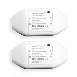 Умный WiFi универсальный переключатель, поддержка DIY, Alexa и Google Assistant и IFTTT, пульт дистанционного управления с приложением MSS710 (2 пакета)