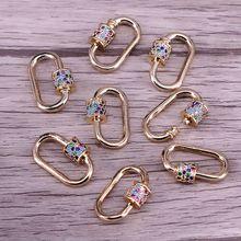 5 pièces, fermoirs à bijoux couleur or, mousquetons connecteur en cuivre, fermoirs à vis Micro pavé CZ pour la fabrication de bijoux