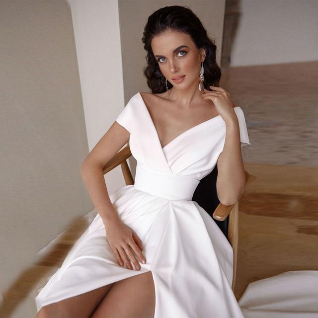 Modesto vestido de noiva com decote em v 2021 moda manga curta varredura trem fenda uma linha vestido de noiva com bolsos 3