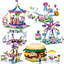 Funny City Amusement Park Rides Legoes Building Block Ferris Wheel Bumper Car Electric Machine Bricks Model Figures Girls Toy