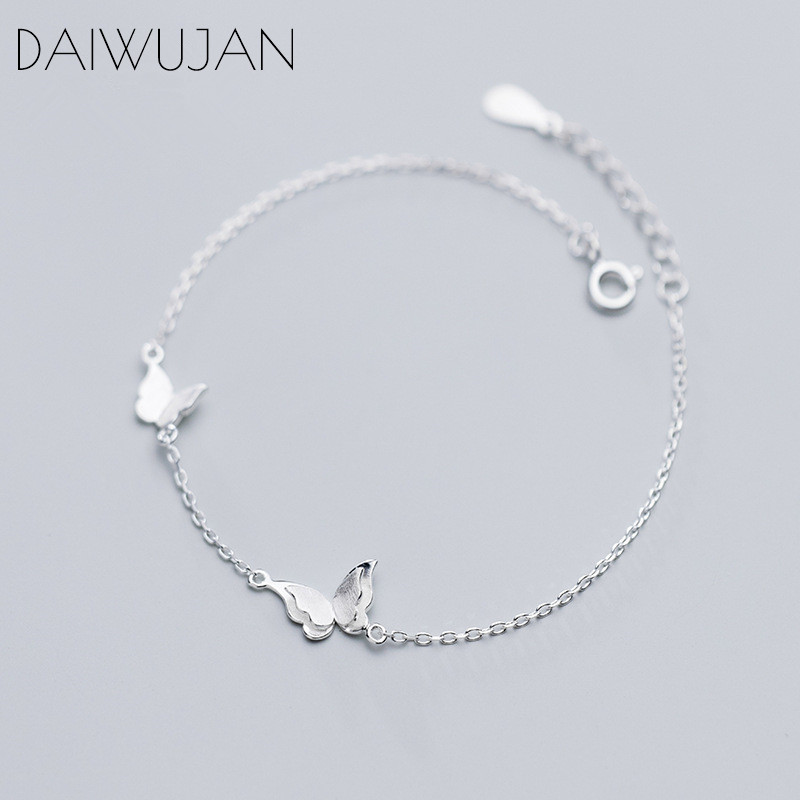 DAIWUJAN INS Cute Drawing Butterfly 925 Sterling Silver Bracelets Korean Sweet Single Chain Fine Jewelry For Women Girls Gift
