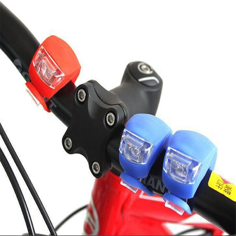 Waterproof Silicone Bicycle Front Lights LED Head Front Rear Wheel Bike Light Cycling With Battery Bike Lamp Bicycle Accessories in Bicycle Light from Sports Entertainment