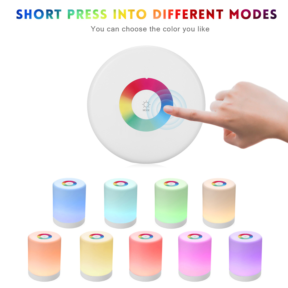 DIDIHOU LED Touch Control Night Light Dimmer Lamp Smart Bedside Lamp Dimmable RGB Color Change Rechargeable Smart Hot
