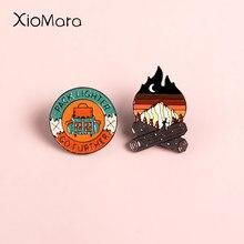 Go Future Adventure-Alfileres esmaltados para campamento, Campamento, montaña, bosque, lagos, esmalte natural, insignia de botón, broche de viaje, Wome