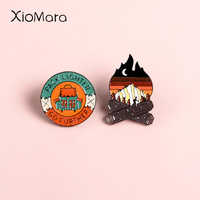 Go Future Adventure Enamel Pins Mountain Forest Lakes Camping Campfire Explore Nature Enamel Pin Button Badge Travel Brooch Wome