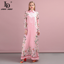 LD LINDA DELLA Autumn Fashion Runway Plus size Maxi Dress Women's Long Sleeve Flower Print Pink Elegant Loose Holiday Long Dress ld linda della fashion runway long sleeve maxi dresses women s elegant party rose floral leopard print long dress holiday dress