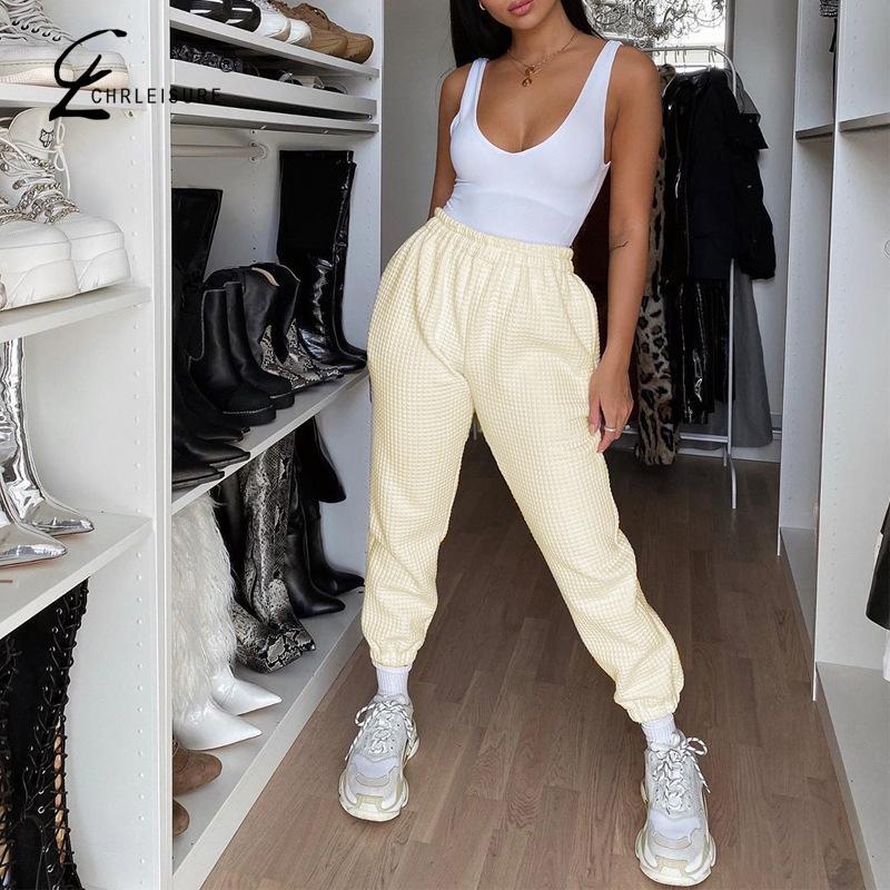 Casual Waffle Pantalon Solid Sweatpants Women Fashion Loose Jogger Women Pants Finess Streetwear Women Clothes