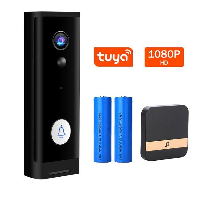 Mini 1080P HD WiFi kapı zili kamera akıllı kablosuz kapı zili Video interkom güvenlik kamera açık IR gece görüş 2MP Tuya APP