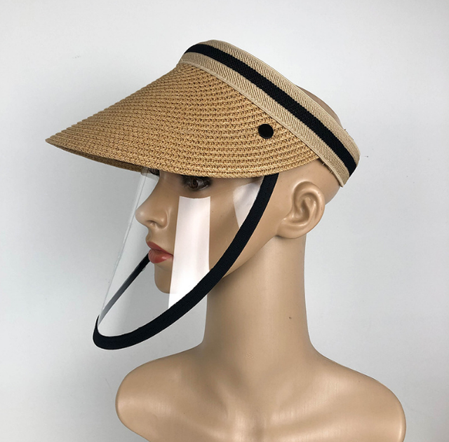 Anti Virus Sun Straw Hat Transparent Splash-proof Full Face Shield Mask Safe Protective Virus Protect anti Saliva Mask Shield 2