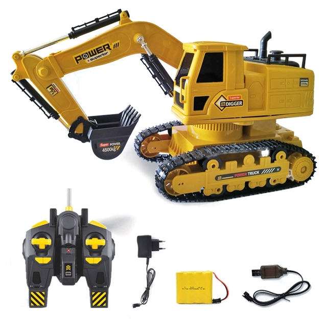 RC Excavator Simulation Engineering Tractor Car Toy 10CH Boy Remote Control Toy Child Christmas Gift RC Truck