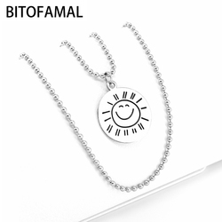 1 Psc You Are My Sunshine Harajuku Retro Sun Smiley Round Pendant Necklace English Alphabet Round Tag Clavicle Bead Chain Unisex