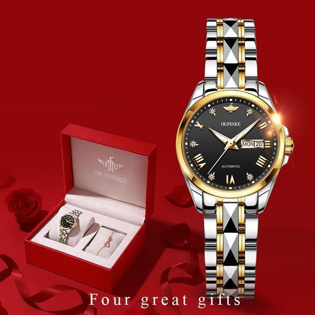 OUPINKE Top Luxury Women Wristwatch Automatic Mechanical Waterproof Watch Sapphire Mirror Tungsten Steel Watchstrap Lady Watches 5