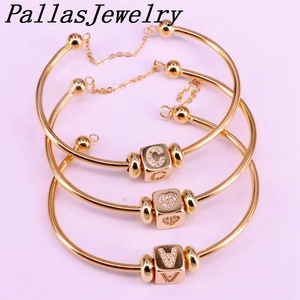 Image 2 - 6Pcs New Hight Quality Gold Color Metal Bangle Inlay Cubic Zirconia 26 Letter Spacer Bead Women Cuff Bangles Bracelets