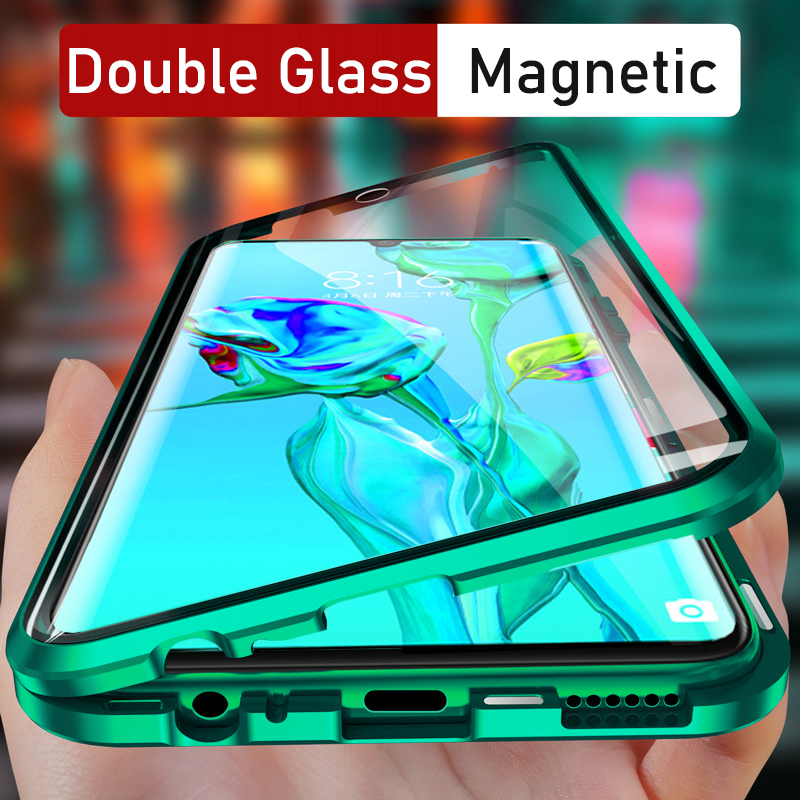 360 Metal Magnetic Phone Case for iPhone 11 Pro Max 7 8 6 6S Plus SE 2020 iPhone 11 X XR XS Max Double Side Tempered Glass Cover image
