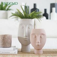 Face Mask Ceramic Flower Pot Home Office Desktop Flower Arrangement Container Ornament Abstract Ornaments Crafts