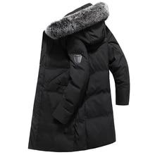 New Down Jacket Duck Feather White Duck Down Warm Thick Cotton Coat Long Cotton Jacket Coat Warm Winter Collar Detachable